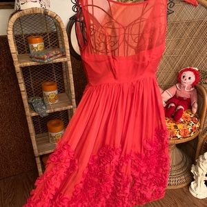 Anthropologie tiny petite red holiday silk dress